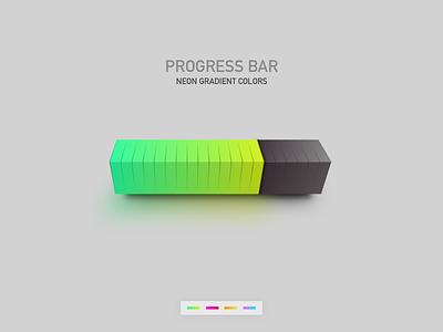 3d Progress bar flat interface design color gradient loading app dailyui vector illustration bar block neon chart website ui progressbar 3d