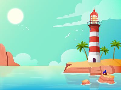 Sunny Bay sea lighthouse vector affinitydesigner flat vector art illustration