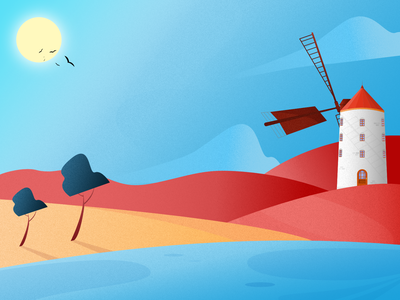 Windmill Field blending modes affinitydesigner vector flat design vector art illustration