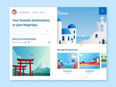 My Destinations - Traveling App Exploration ux vector flat app ui affinitydesigner design illustration figma vector art