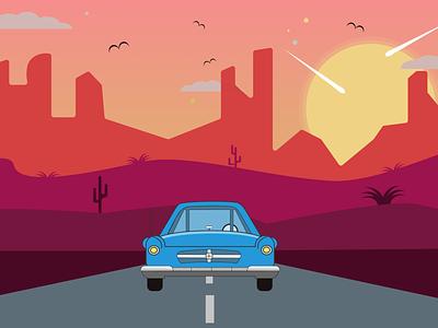 Desert Car illustration flat figma