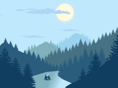 Moonlight Landscape vector art flat illustration figma
