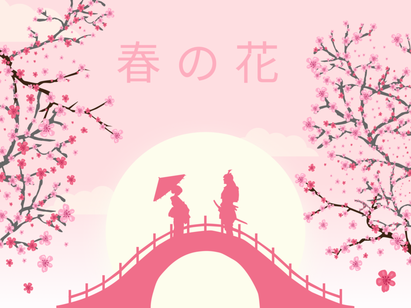Spring Card - Original Idea spring festival sakura japanese art vector art flat illustration figma