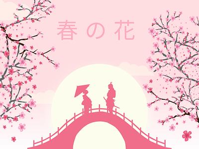 Spring Card - Original Idea spring festival sakura japanese art vector art flat illustration figma