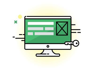 Custom Web App Development ecommerce illustration icon outline vector web computer development customisation internet monitor