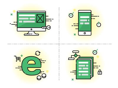 Capabilities. Development company ecommerce illustration icon outline vector web computer development customisation internet monitor