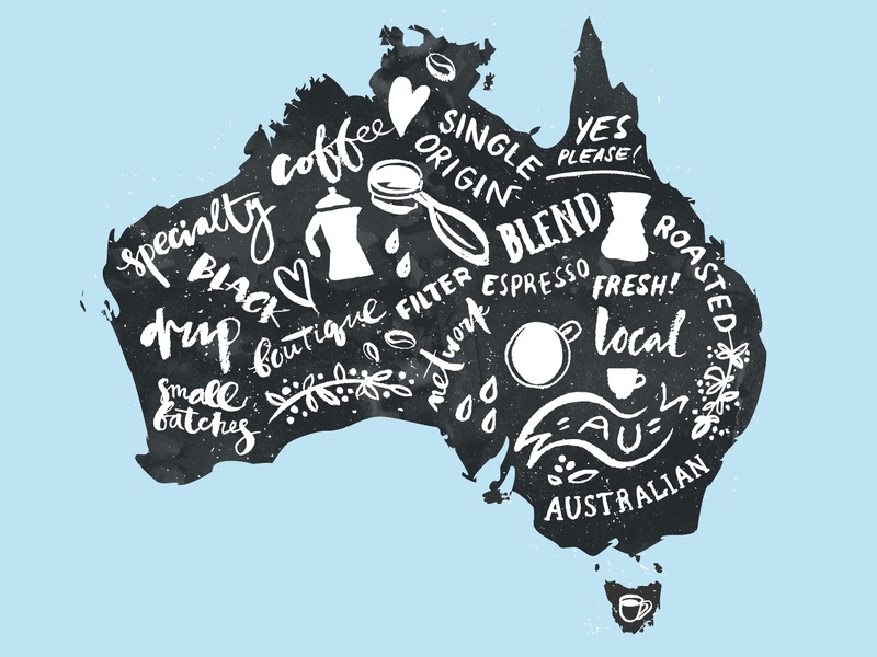 Coffee map of Australia australian filter local blend alternative drip australia white black design card brush blue coffee icons vector illustration