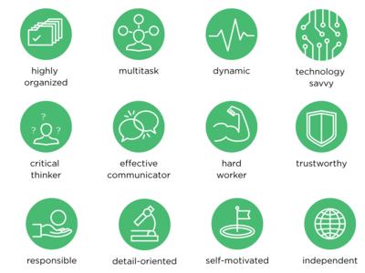 Big icons set of Webinerds' soft skills