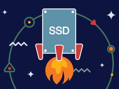 Solid State Drives illustration power fire flame speed start-up ssd space rocket blog webinerds internet icon design blue yellow outline flat icons vector illustration
