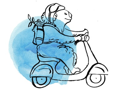 Koala riding Vespa watercolor background ride backpack eucalyptus koala vespa concept character bold black  white hand drawing hand drawn drawing watercolor brush design dot watercolor blackandwhite blue illustration