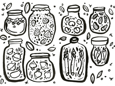 Grandma's pantry and home fermantation lab vegetables kompot preservation slovak ukrainian glass jar hand drawn brush illustration fermentation lab summer grandmother comfort food pantry blackandwhite fermentation