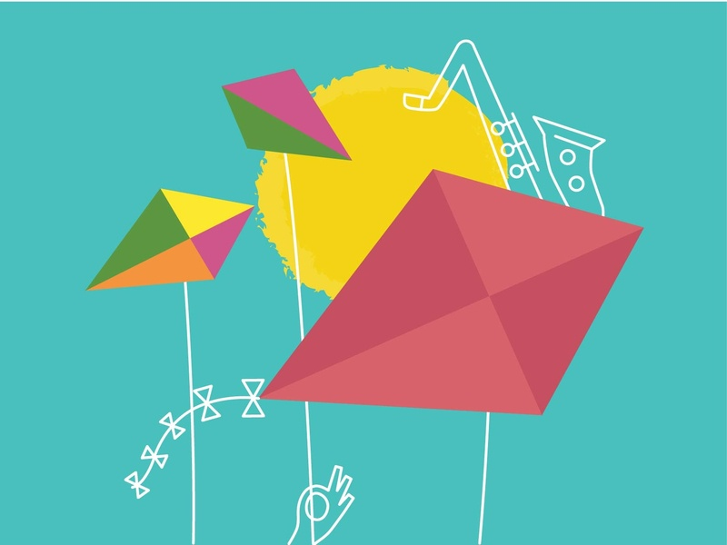 Summer Jazz sky sun kite music jazz music poster concert poster summer jazz summer blue yellow outline flat icons vector illustration
