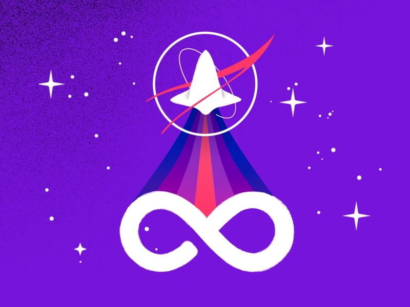 Space is infinity. NASA from my perspective startup pink poster vintage nasa icon design flat vector illustration spaceship texture infinity white purple astronaut sky stars space