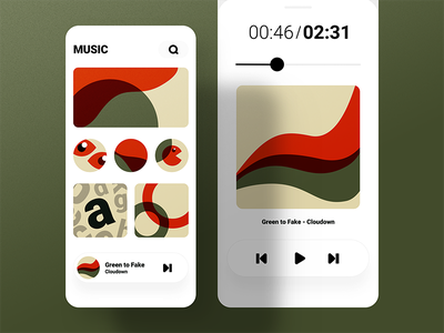 Music App UI ui uiux red music experience illustration green old