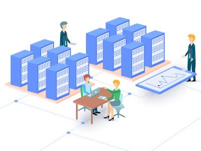 Enterprise solutions illustration workspace flat teamwork illustrator enterprise solutions infographic vector landing page graphic design illustration