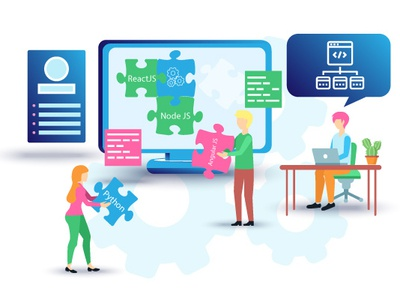 Developers team team tech technology development developers banner ads teamwork infographic illustrator flat vector landing page illustration graphic design design