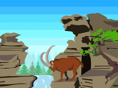 Goat on the rocks rocks goat minimal art vector animal nature design illustrator flat illustration