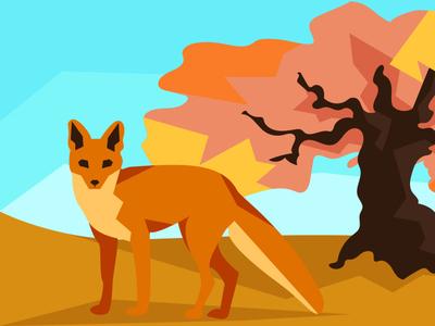 Fox in autumn autumn fox minimal animal nature art vector illustrator flat illustration