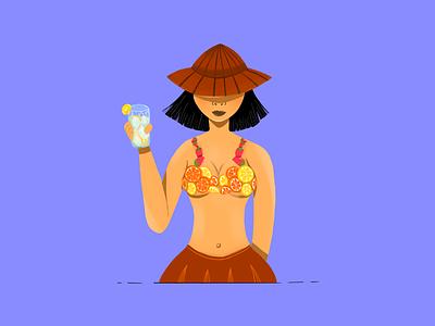 Summer time lemonade characterdesign woman illustration fruit illustration lemonade procreate