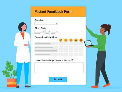 patient feedback form feedback form online form doctor illustration blog post banner design jotform flat illustration illustrator adobe