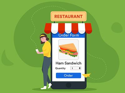 online restaurant ordering blog post banner design jotform flat illustration illustrator adobe online ordering restaurant order form