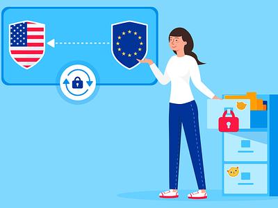 Privacy Shield update privacy shield blog post banner design jotform flat illustration illustrator adobe