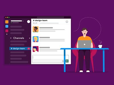 Slack team messenger messenger team slack blog post banner design jotform flat illustration illustrator adobe