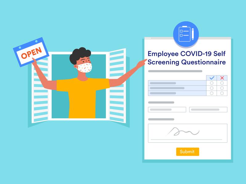 Employee COVID-19 Self Screening Questionnaire blog post banner design jotform flat illustration illustrator adobe questionnaire covid-19