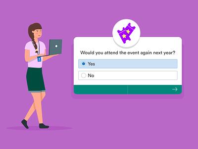 post-event survey questions event blog post banner design jotform flat illustration illustrator adobe survey