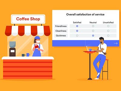 customer feedback form customer feedback coffee shop blog post banner design jotform flat illustration illustrator adobe