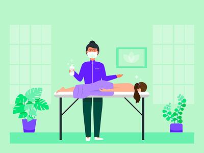 massage therapy in corona time massage therapy cleanliness coronavirus spa illustration blog post banner design jotform flat illustration illustrator adobe