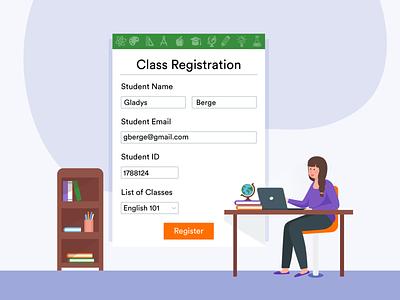 online class registration registration form class online form blog post banner design jotform flat illustration illustrator adobe