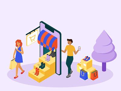 Shop online e-commerce shopping shop online jotform flat illustration illustrator adobe