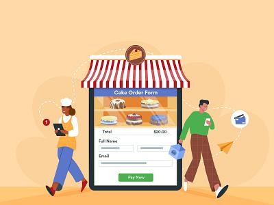 Direct to consumer retail cake patisserie direct to comsumer banner design jotform flat illustration illustrator adobe