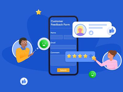 Customer Feedback illustration blog post banner design jotform customer online survey customer feedback figma flat illustration