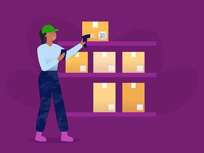 Inventory Management barcode scanner inventory management figma illustration blog post banner design jotform flat illustration