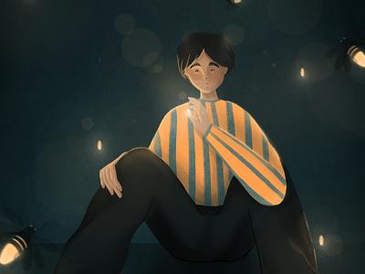 Fireflies digital illustration procreate light illustration firefly