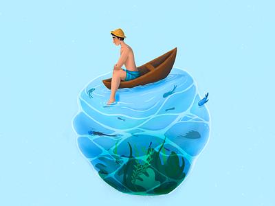 far from world ocean blue boat fish underwater procreate digitalart illustration