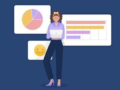 Survey report charts chart report survey figma banner design jotform flat illustration