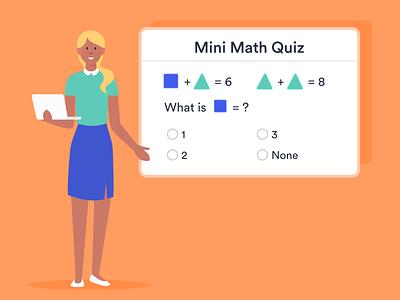 Online Quiz math teacher quiz online exam figma blog post banner design jotform flat illustration