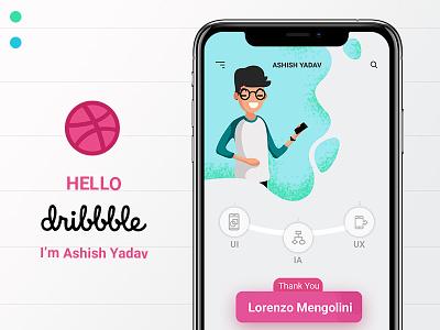 Hello Dribbble I'm Ashish! ux ui typography illustration hello dribbble userinterfacedesign