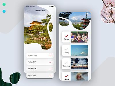 Japan Travel Guide App asia uidesign typography userinterfacedesign ui travel blog travel app japanese japan