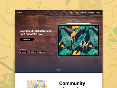 Art Community App - Landing Page illustration figmadesign branding asia coming soon landing page sketch app ui design ecommence typography userinterfacedesign