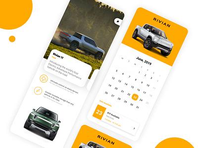Rivian Test Drive Booking App app design app figma branding business figmadesign sketch app ux ecommence typography design ui userinterfacedesign