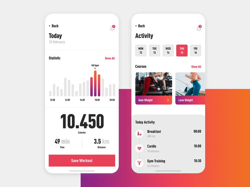 D13 App fitness app gym training application app design ux concept modern