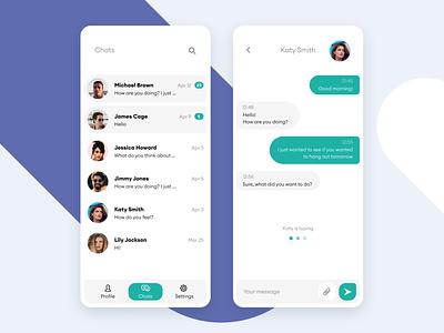 Minimalist chat concept mobile app message app messenger chat flat ui concept modern