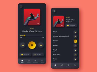 Music player dark ui music player neumorphism application app design concept modern