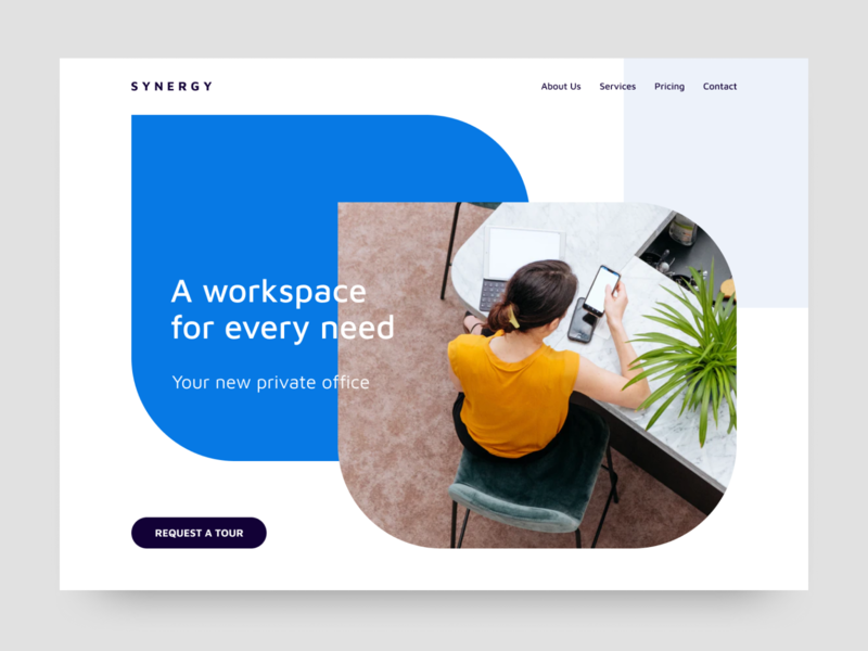 Coworking Website landing page coworking ui ux minimalism webdesign modern concept