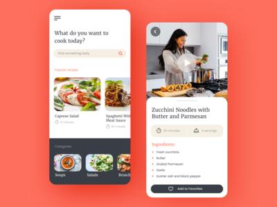 Cooking App ui trendy modern cooking app minimalist app design concept