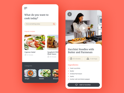 Cooking App ui trendy modern cooking app minimalist app design concept